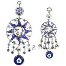 BRISTLEGRASS Türkisch Blau Evil Eye Mond Sun Star Elefanten Disk Wand Hängen Anhänger Amulett Glück Charme Segen Schutz Decor