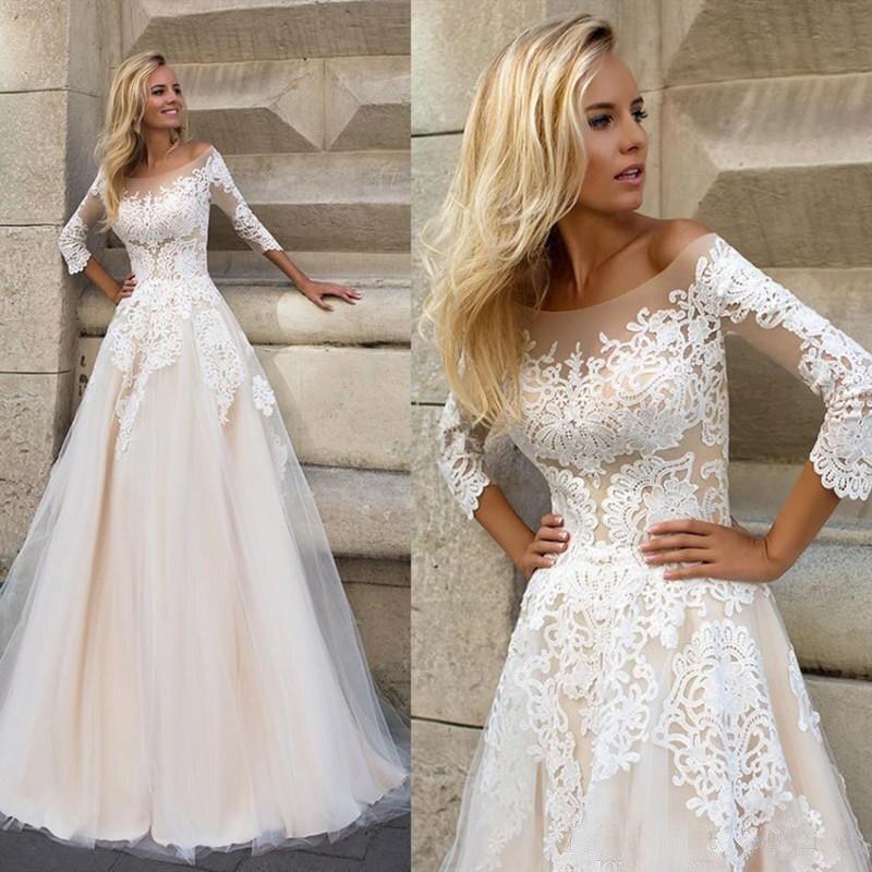 Купить с кэшбэком lORIE  Wedding Dresses 2019 Elegant 3/4 Sleeves Sweep Train Plus Size Bridal Dress Custom Champagne Boho Wedding Gown