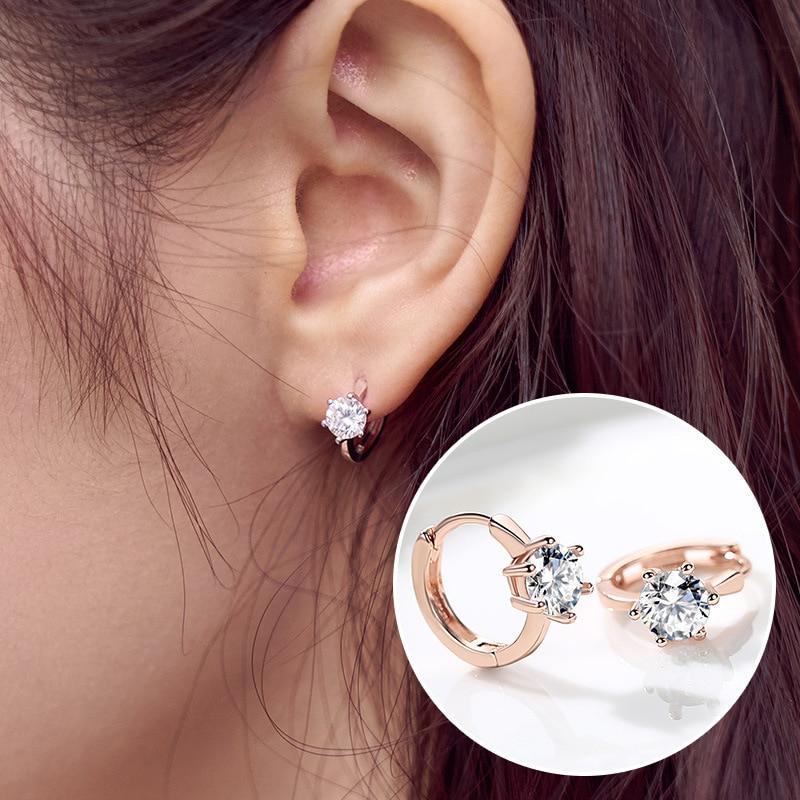 2018 cristal recién llegado Rosa oro seis garra Stud Zircon pendiente redondo plata San Valentín regalo de boda boucle doreille femme