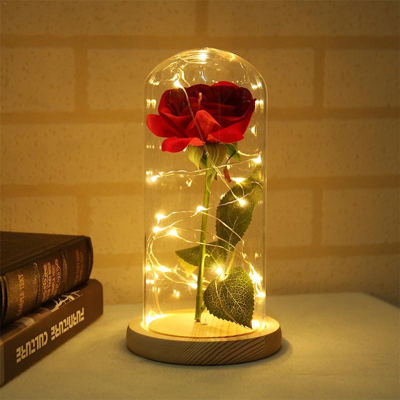 Simülasyon Gül Çiçekler LED Lamba Cam Kapak Ahşap Taban Atmosfer Gece Lambası Ev El Sanatları Dekor Doğum Günü sevgililer Günü Hediyesi h3