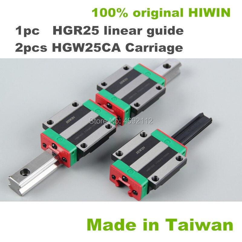 1 قطعة HGR25 200 250 300 350 400 450 500 550 600 مللي متر الخطية دليل السكك الحديدية مع 2 قطعة HGW25CA الخطية كتلة النقل CNC أجزاء