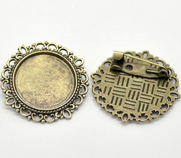 Broches con marco de Cameo redondo de bronce antiguo de 32mm (ajuste de 20,5mm), vendidos por paquete de 10 (B16581)