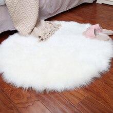 Couverture de chaise tapis artificiel doux   Tapis en peau de mouton, tapis artificiel pour chambre à coucher, tapis chaud et poilu, laine de siège, zone en fourrure de Textil chaude, Rugs28