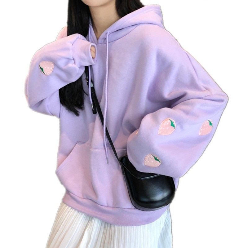 Harajuku morango bordado lavanda branco moletom outono inverno mulher kawaii solto mangas compridas topos oversized hoodies