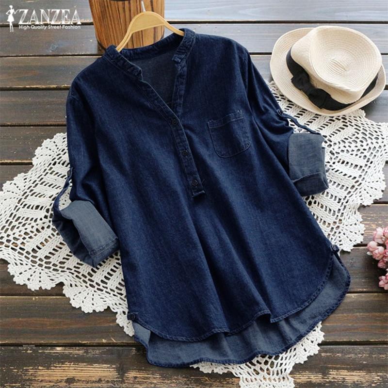 ZANZEA Plus Size Tunic Tops Womens Denim Shirt Fashion Women Blouse Female V Neck Long Sleeve Party Shirts Femme Work Blusas