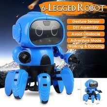LEROY Smart Sensor Robot Stem de 6 patas Detección de gestos infrarrojo evitar obstáculos caminar/baile Robot juguete DIY
