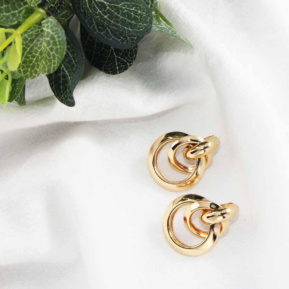 Flatfoosie Gold Farbe Runde Stud Ohrringe Für Frauen Mädchen Kreis Gekreuzte Kleine Nette AlloyFashion Punk Erklärung Ohrring Schmuck