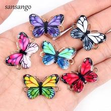 10 Uds nuevo variado Color esmalte mariposas artísticas 2 Agujero conector encanto cuentas para mujeres DIY joyería haciendo accesorios pulsera