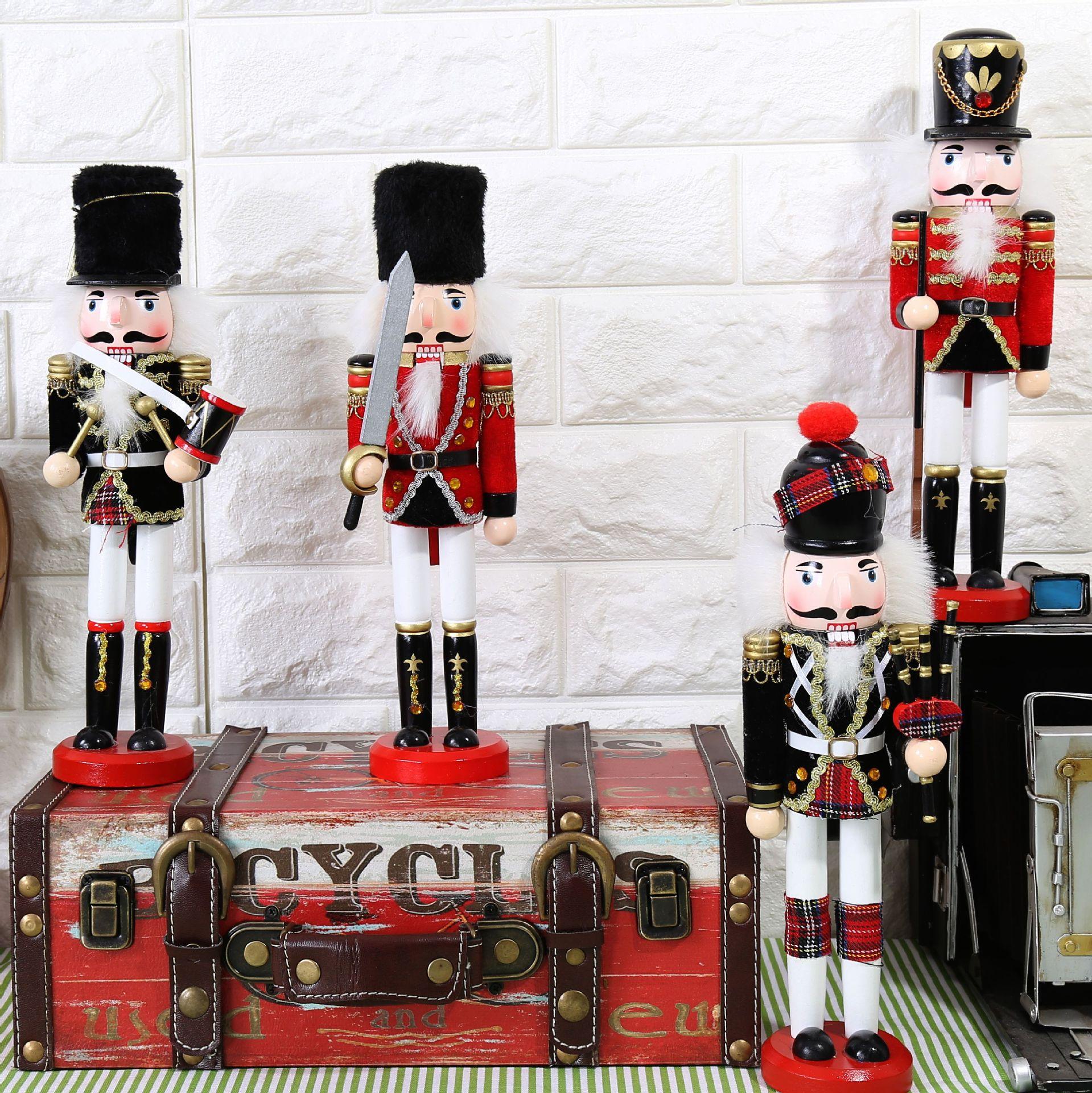 Cascanueces, títere soldado, 30 cm, decoraciones de madera maciza para tienda de casa, decoraciones vintage, decoración del hogar, accesorios de decoración para el hogar