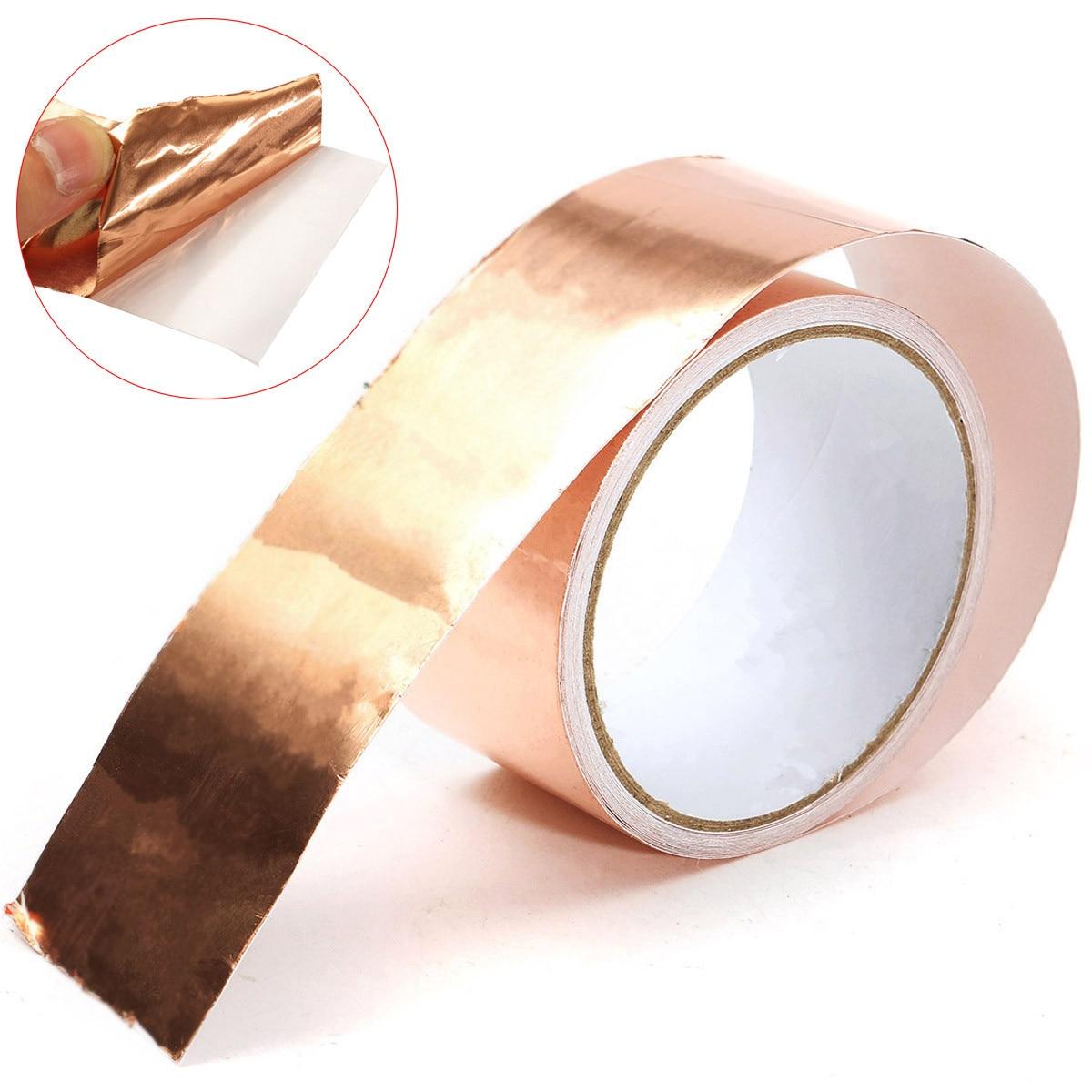 50 мм x 5 м чистый Купер фольга лента EMI односторонняя проводящая фольга клейкая лента EMI Экранирование тепло сопротивление ленты