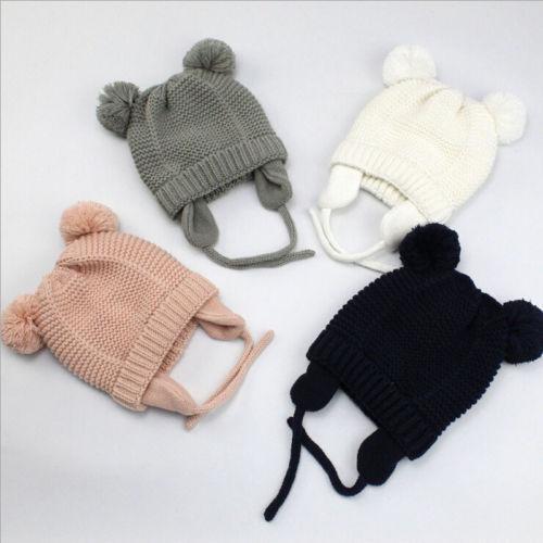 Cute Kids Knit Cotton Beanies Hat Cap with 2 Balls