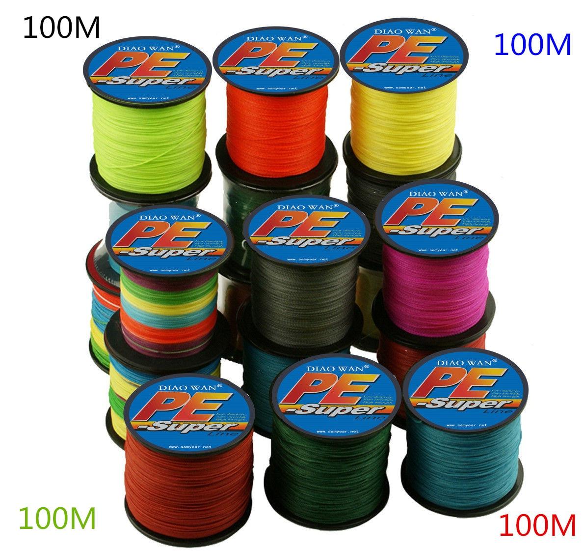 DIAOWAN 9 цветов 100 м PE плетеная леска 8 прядей 130 150 180 200 250 300 фунтов мультифиламентная 8 плетений леска