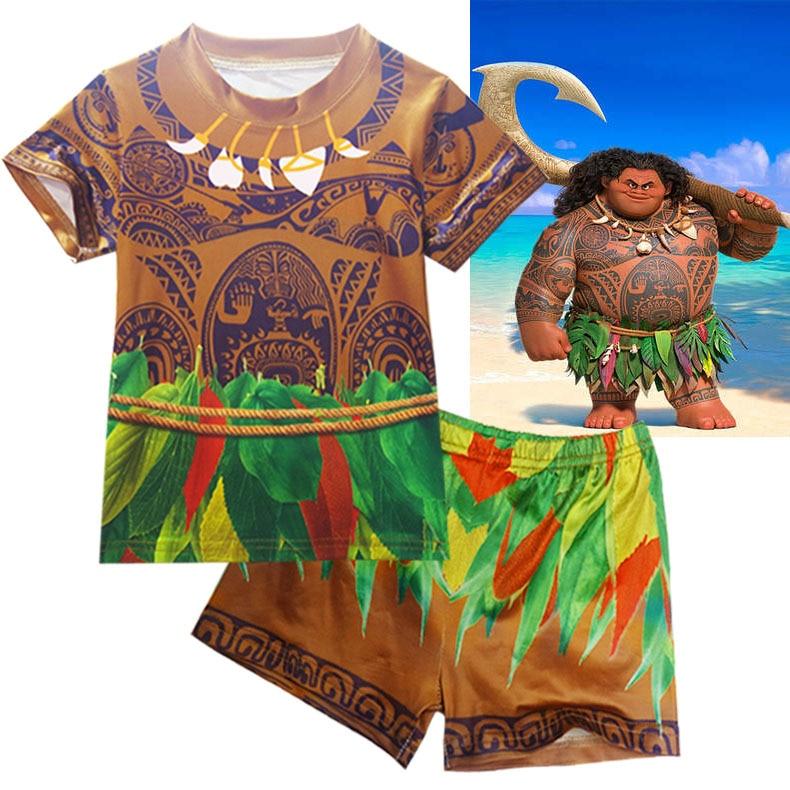 DZYECI Vaiana Moana Set For Baby Boy Maui Costume Clothes Christmas Pajamas Child Boutique Outfits Kid T Shirt+Trouser Tracksuit