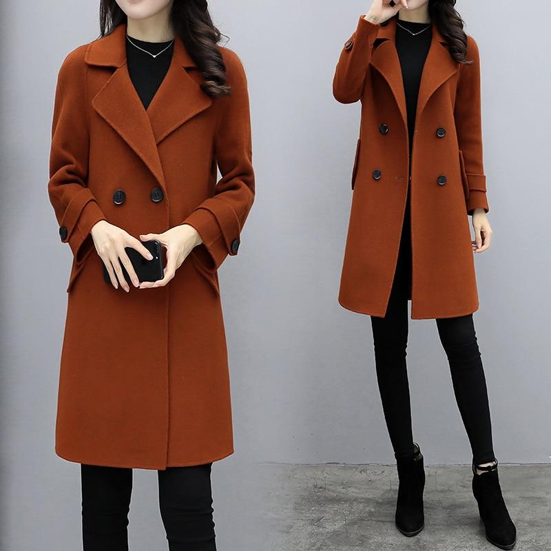 Nuevo 2018 Otoño Invierno mujeres atuendo largo suelto South moda de Corea paño abrigo blazer top abrigo de lana ropa de alta calidad