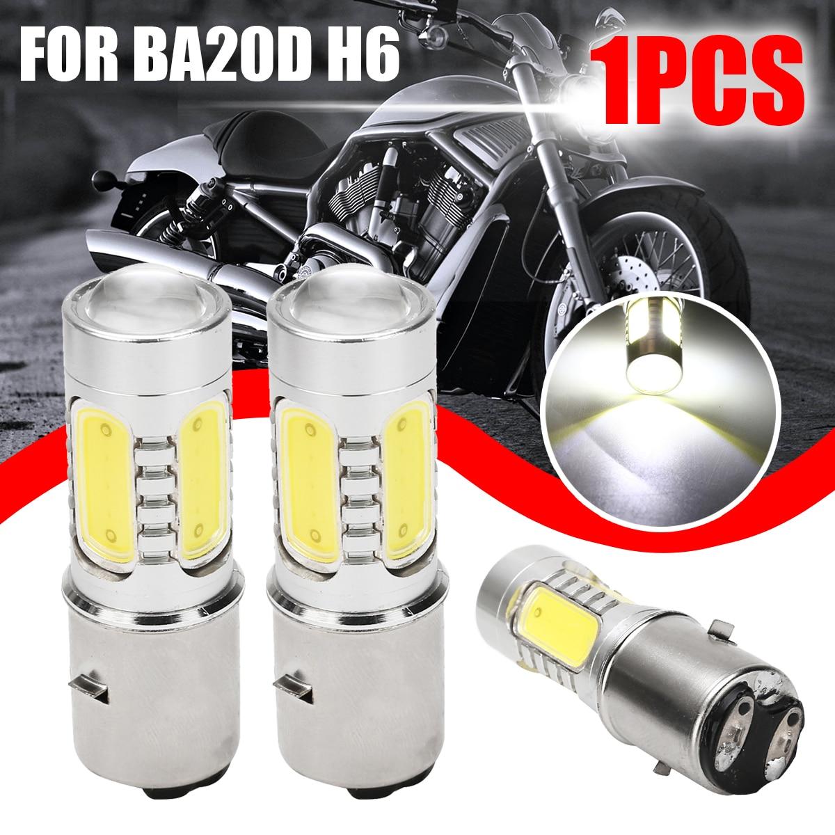Universal 1pc blanco motocicleta H6 faro DC12V 7,5 W BA20D 4 COB LED Moto ciclomotor Scooter ATV lámpara bombilla aluminio Luz