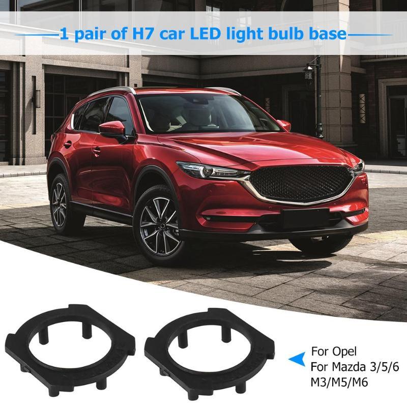 1 par H7 faro LED para motocicleta base de bombilla adaptadores soportes retenedores para Opel CRV Mazda 3/5/6 M3/M5/M6 plástico negro