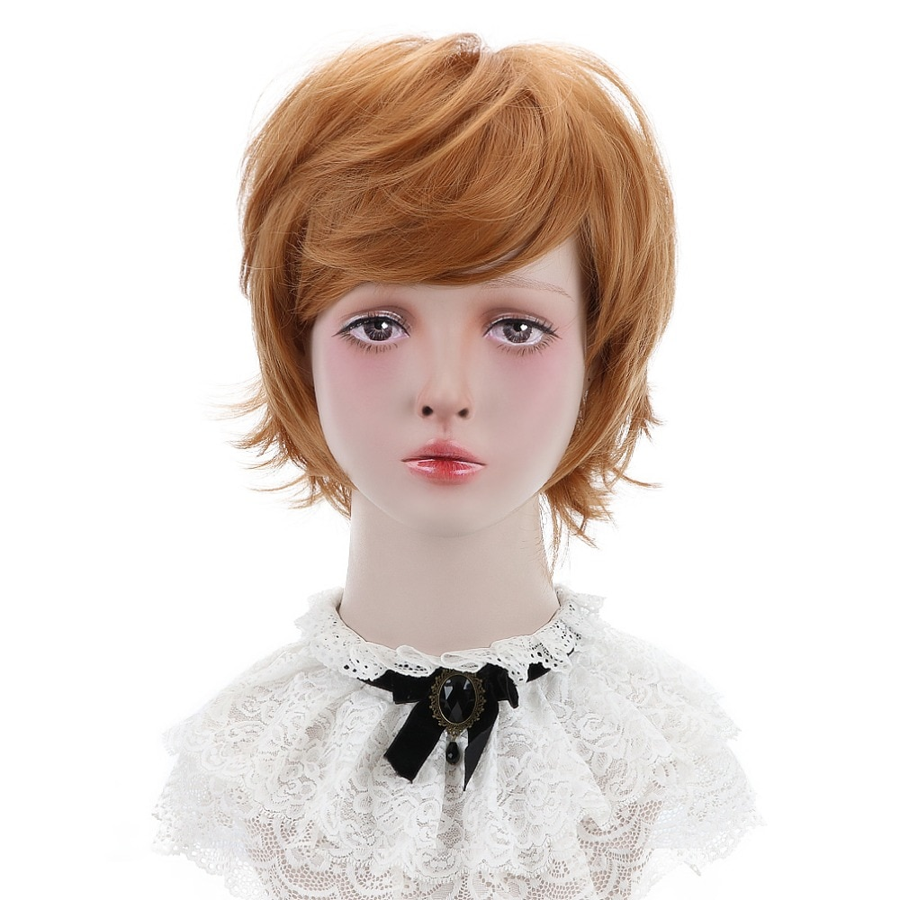 """Free Beauty 12"""" Short Body Wave Synthetic Ginger Dun Strawberry Blonde Ash Hair Bob Wigs with Gradient Bangs for Women Daily"""