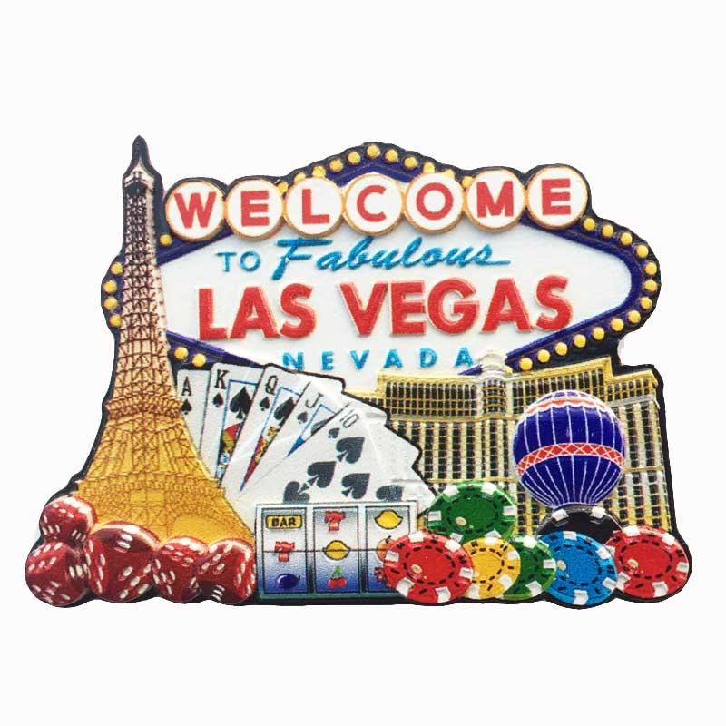 Imán de nevera americano Lychee de Las Vegas, imanes de nevera con paisaje escénico, recuerdos de viaje, decoración del hogar