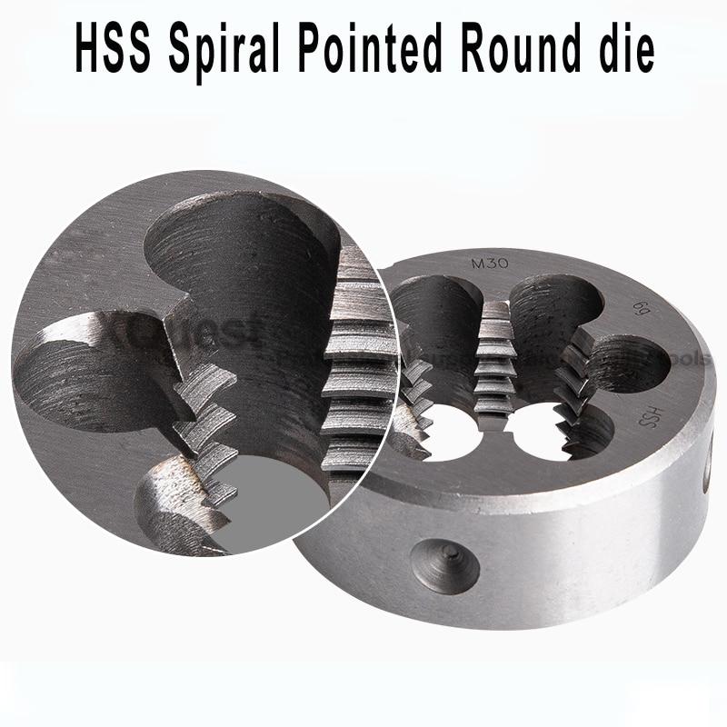 HSS Spiral Point Round Die M2 M2.5 M3 M4 M5 M6 Metric Pointed Round Threading Dies Screwing cutting tool m8 m10 m12 m14 m16