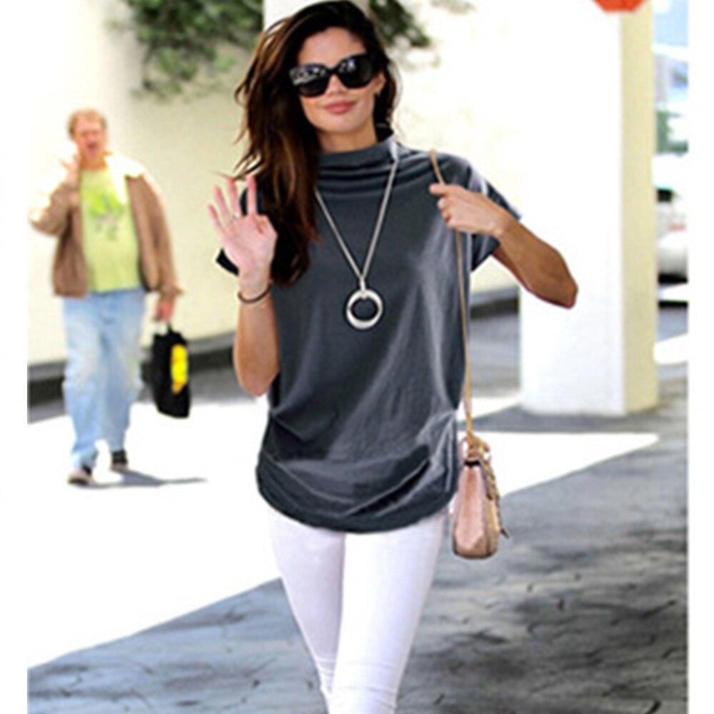 Jocoo Jolee Женская Повседневная водолазка с коротким рукавом «летучая мышь» блузка женская хлопковая однотонная топы размера плюс женская рубашка 2020 одежда