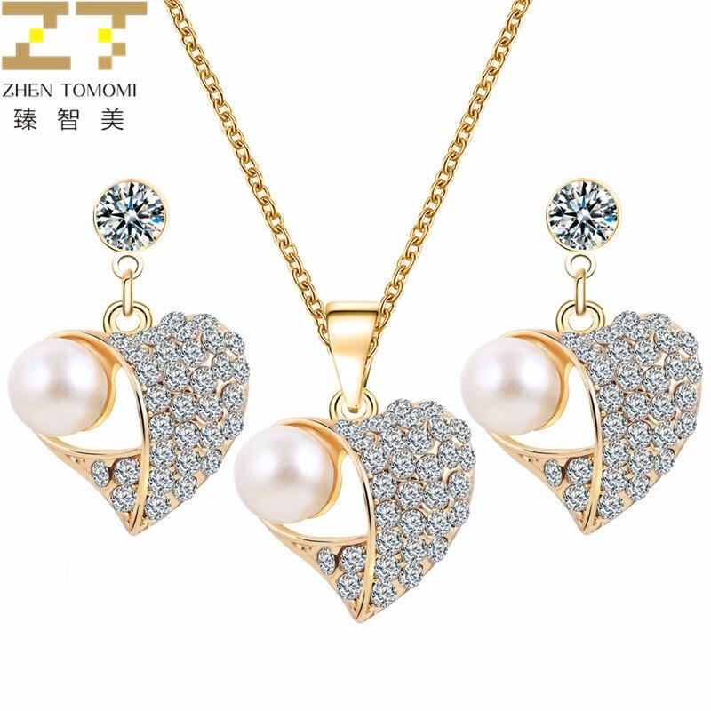 Moda caliente nupcial boda cristal Corazón de melocotón collar gargantilla colgante/pendientes juegos de joyas para mujer perla simulada joyería