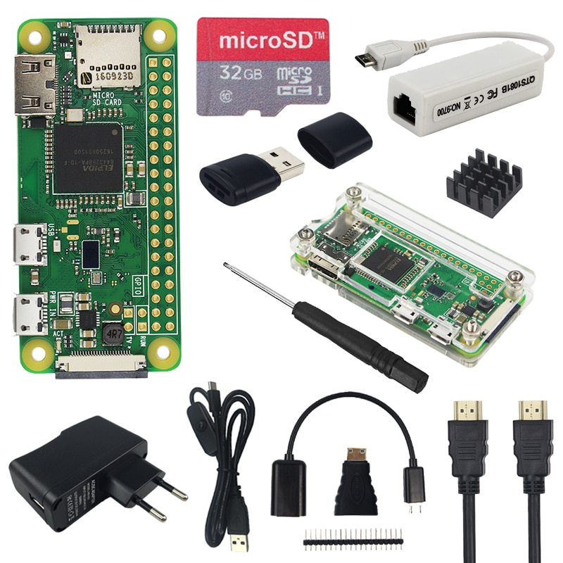 Raspberry pi zero w kit + caso acrílico + 2.8 polegada touchscreen câmera rj45 placa de rede 32 gb sd dissipador de calor hdmi