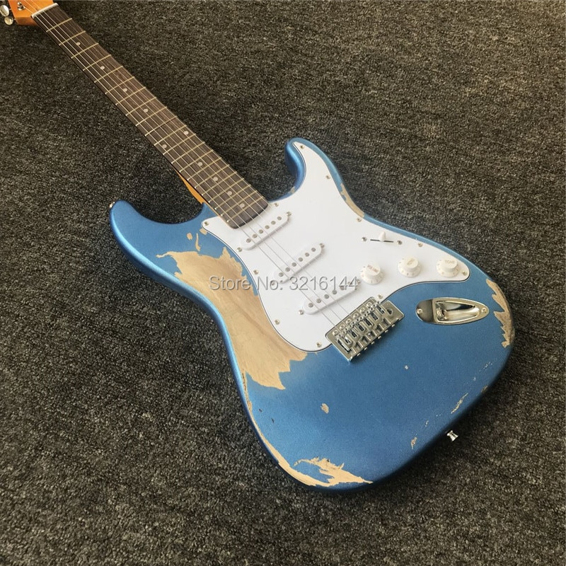 In stock. Manual do old guitars, metallic blue, restore ancient ways relics electric guitar, real photos, wholesale and retai