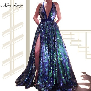 Deep V Neck Sequined Beach Party Dress 2019 New Celebrity Prom Dresses Robe De Soiree Arabic Pageant Gowns Evening Dress