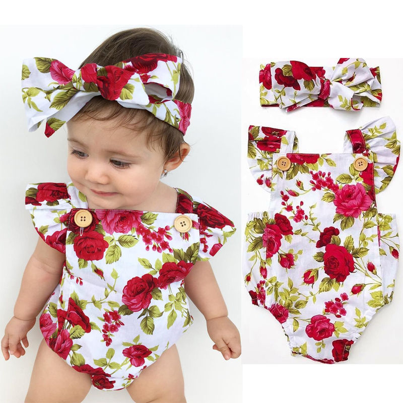 Combinaison pour nouveau-né   Combinaison sans manches, bandeau, tenue de soleil, motif floral, dos nu, combinaison pour enfants