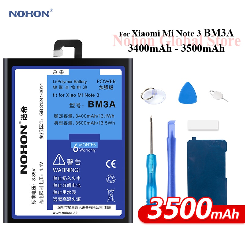 Nohon بطارية ل Xiaomi ملاحظة 3 مي Note3 BM3A 3500mAh المدمج في قدرة عالية الهاتف ليثيوم بوليمر Bateria ل Xiaomi ملاحظة 3 بطارية