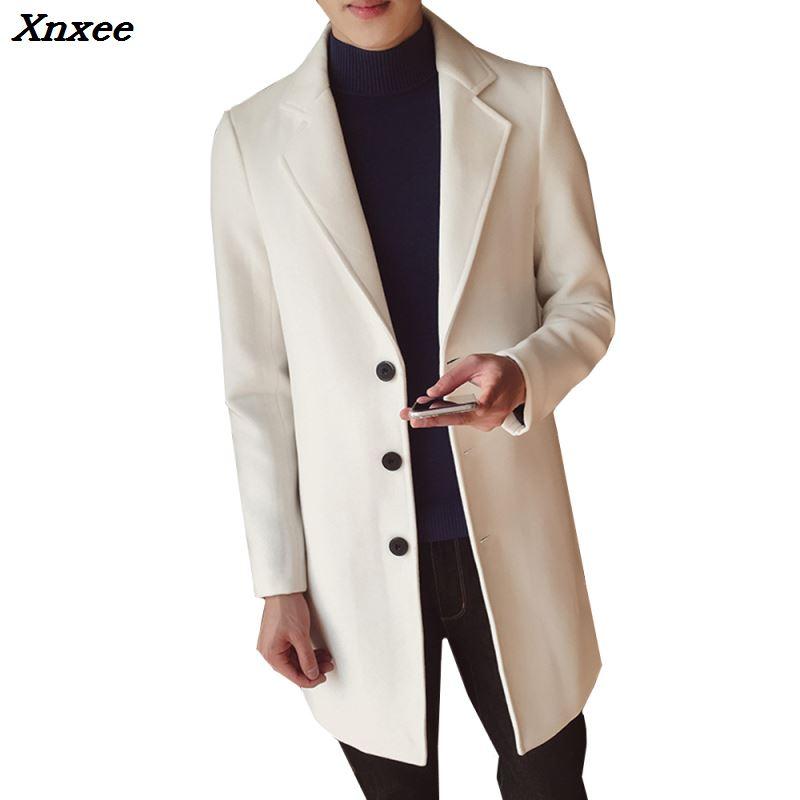 Мужское Однотонное шерстяное пальто в английском стиле, пальто средней длины, приталенное Мужское пальто на осень и зиму, шерстяное пальто ...