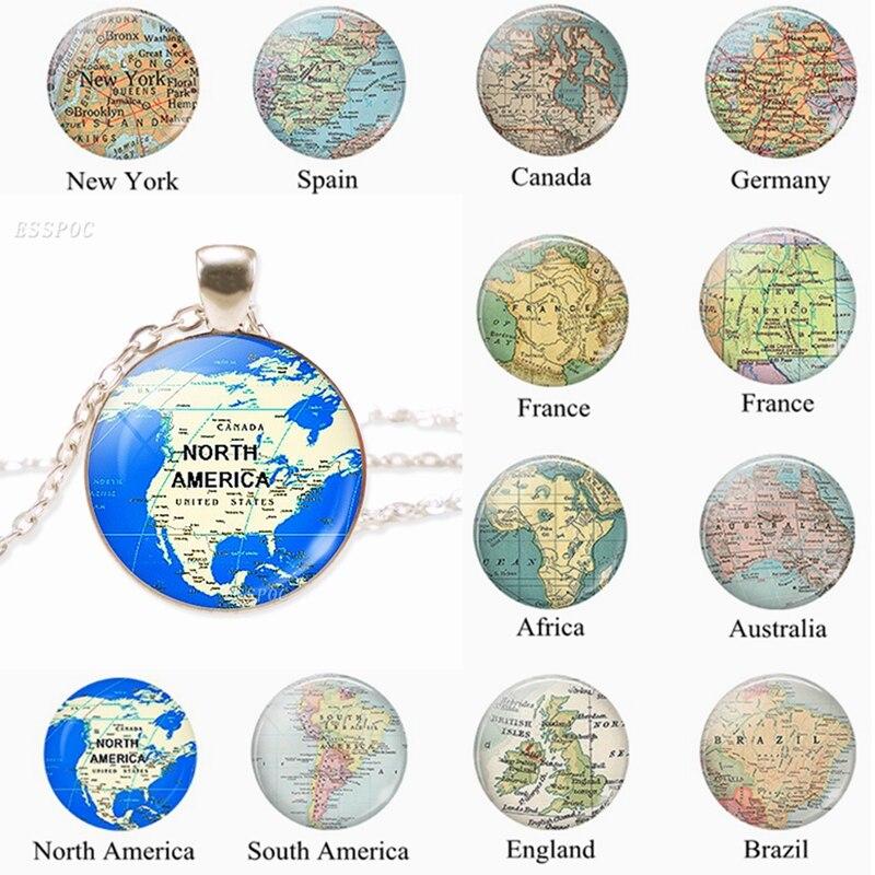 Mapa del mundo de la moda collar de Metal América del Norte África Francia España Inglaterra colgante mapa joyería hombres abalorio regalo