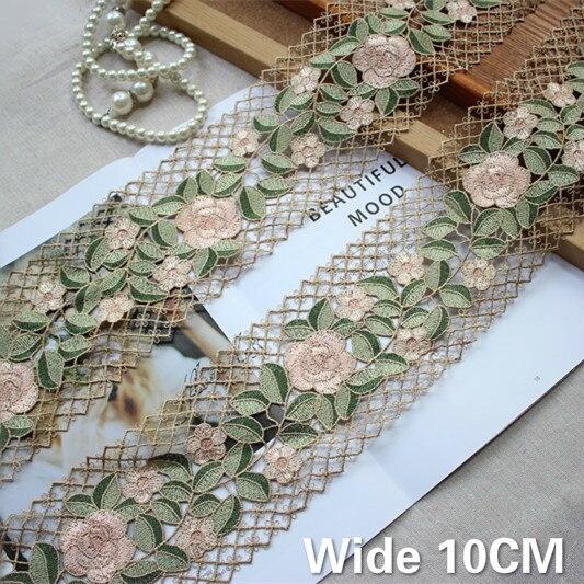 10CM de ancho delicado flores verdes bordado guipur tela de encaje cinta DIY Applique Trim Decorted mujeres vestido cortinas costura