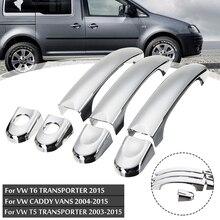 Ensemble de garniture de couvercle de poignée de porte   Chromé, 3 pièces, pour VW transporteur T5 T6 Caddy Van 2003 2004 2005 2006 2007 2008 2009