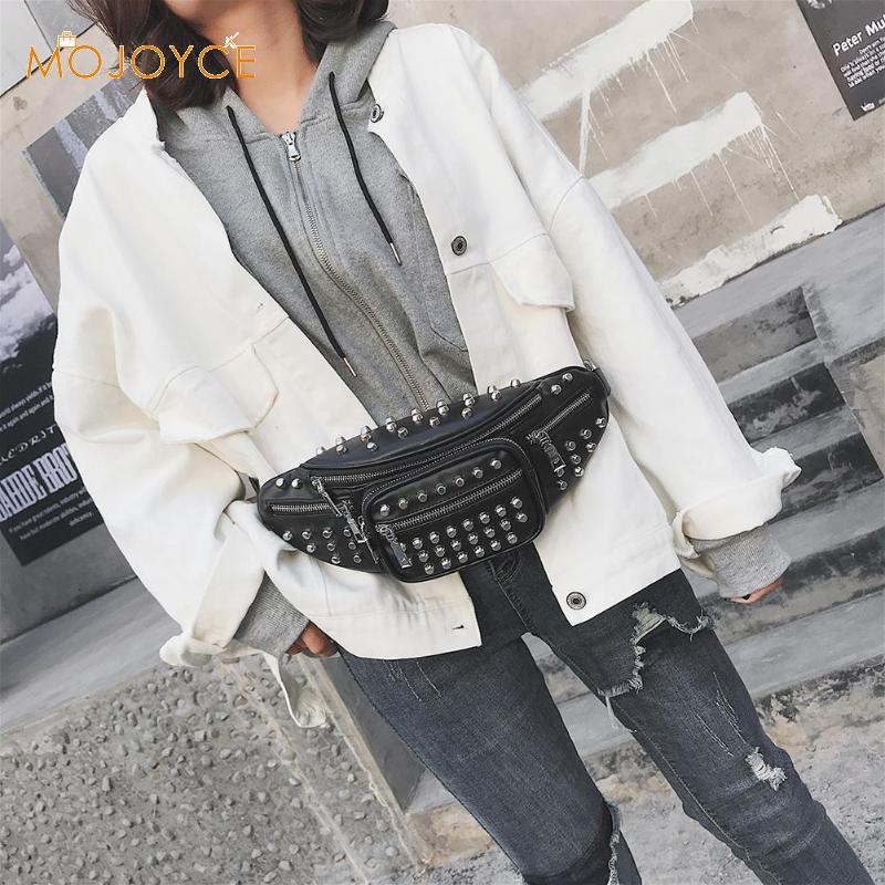 Rivet Waist Pack Women Shoulder Bag Brand Designer Women's PU Leather Waist Bag Chest Shoulder Bag pochete feminina New