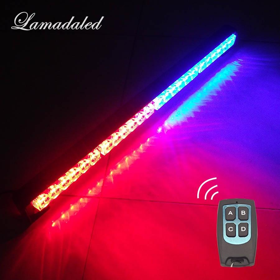 24inch Wireless control Car Strobe Light bar 60cm 24 LED Police warning Lights beacon emergency hazard blinking lamp with remote