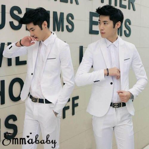 Men's Casual Slim Fit Formal Business One Button Suit Blazer Coat Jacket Tops