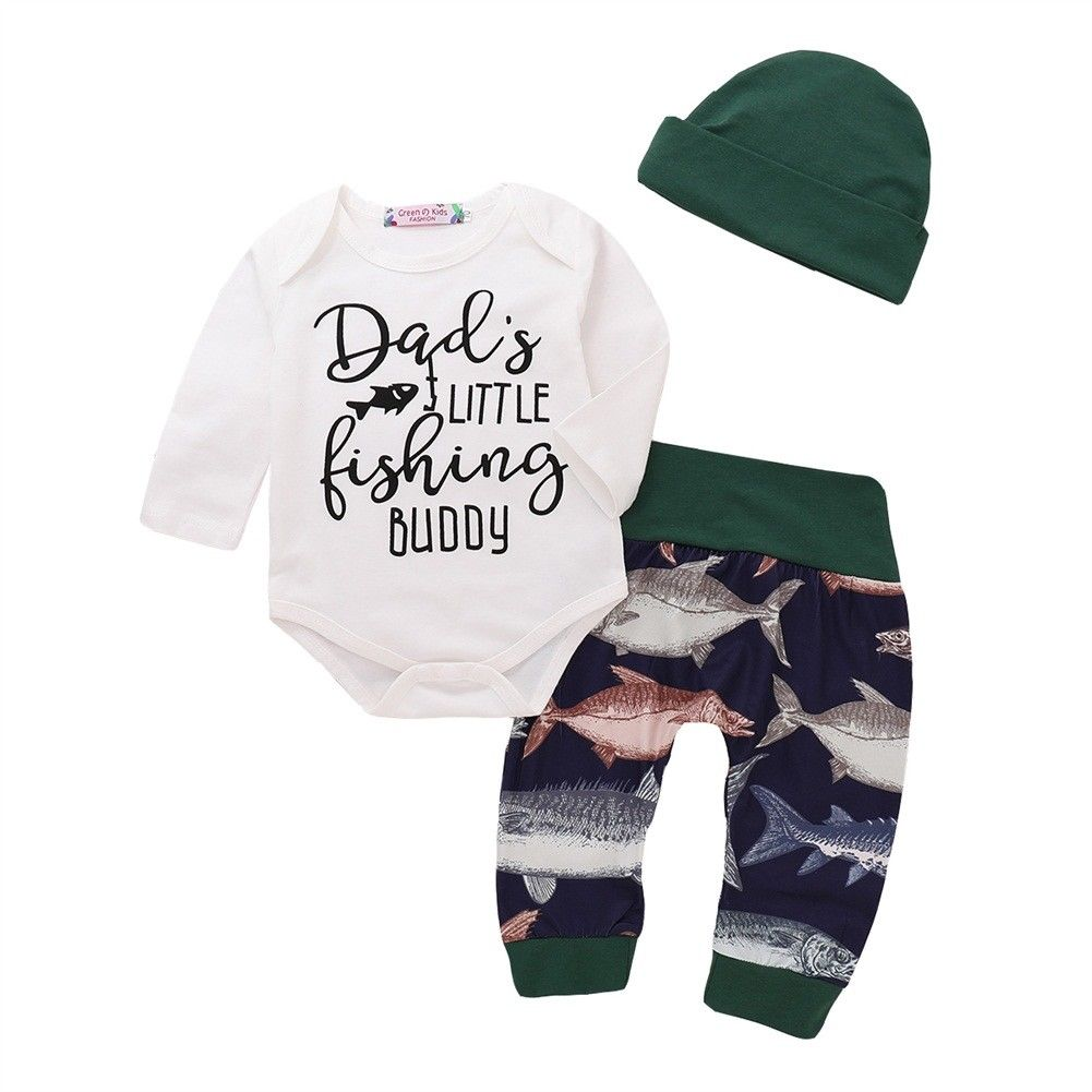 Newborn Kid Baby Girl Letter Print Clothes Cotton Romper Long Pants Hat 3pcs Long Sleeve Casual Baby