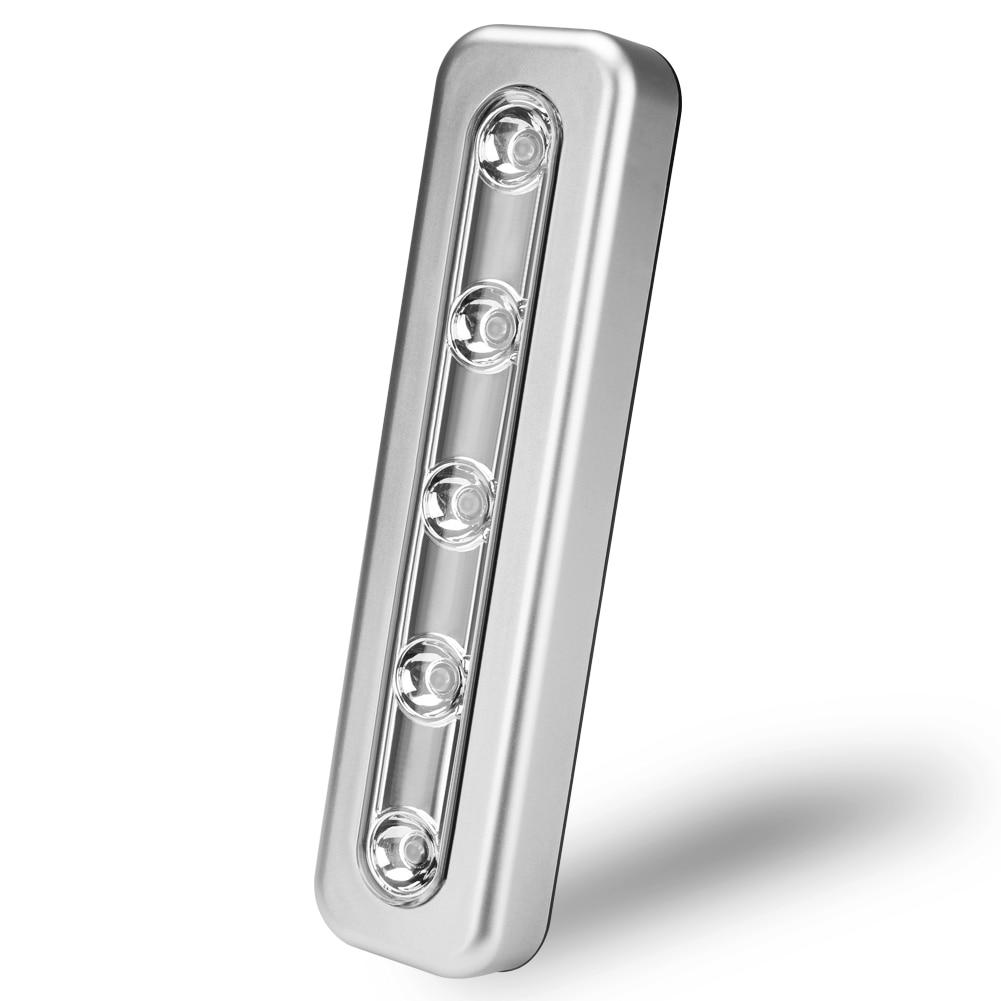 Sem fio 5 led luz da noite sob a luz do armário armário armário de cozinha lâmpada push touch night light vara em bateria alimentado