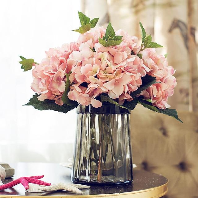 Ramo de flores de hortensia de simulación artificial en oferta de 2019 para decoración de boda en casa ramo de flores
