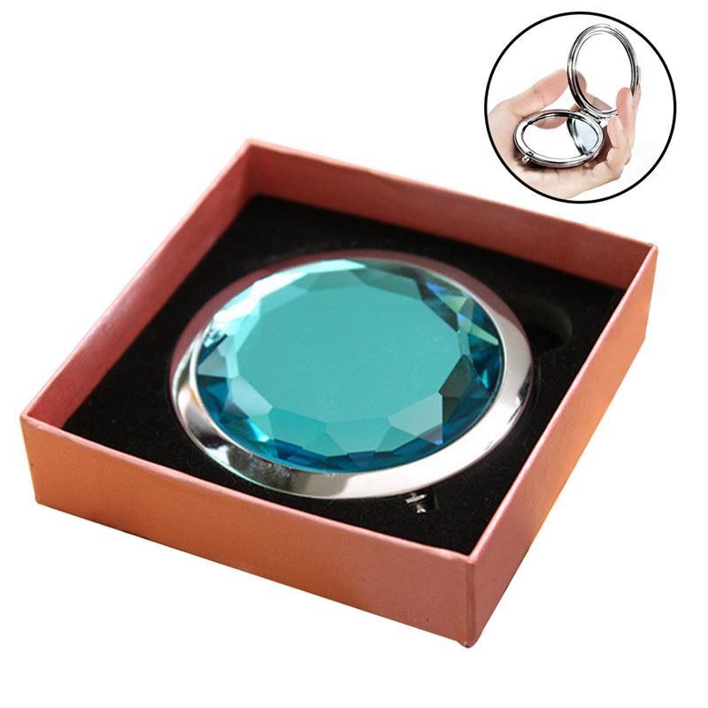 Espejo de cristal compacto de diamante de imitación bonito, espejo de maquillaje portátil de doble cara, espejo de viaje, regalo de fiesta para invitados