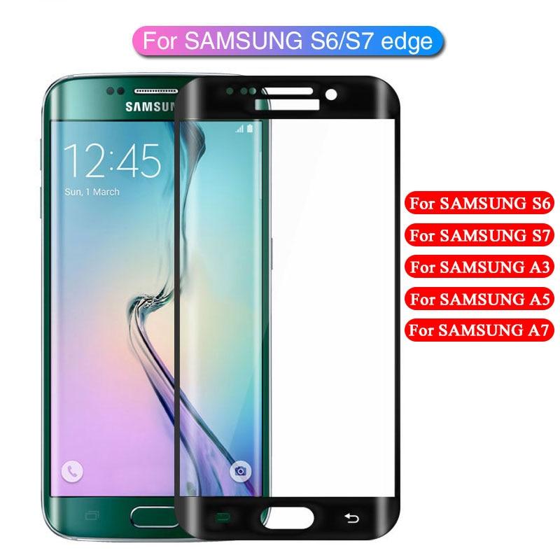 Protetor de tela curvada completa vidro, para samsung galaxy s6 edge plus s7 samsung a3 a5 a7 2016 2017 película de vidro protetora hd