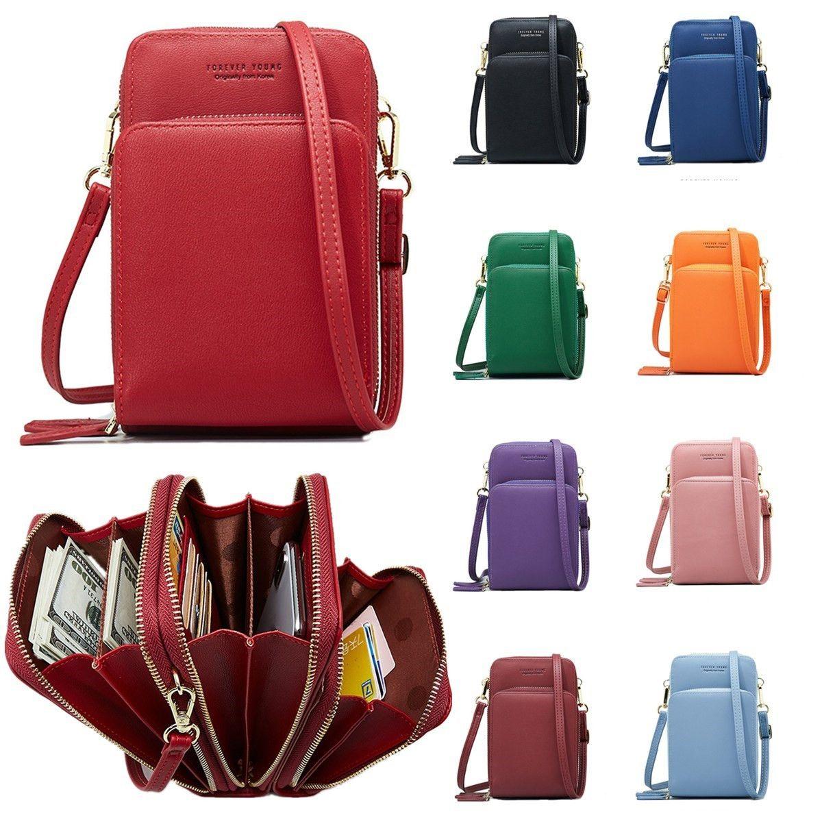 Small Cellphone Bag Mobile Phone Mini Bags Small Clutches Shoulder Bag Leather Women Handbag Clutch Purse Handbag Flap 10 color