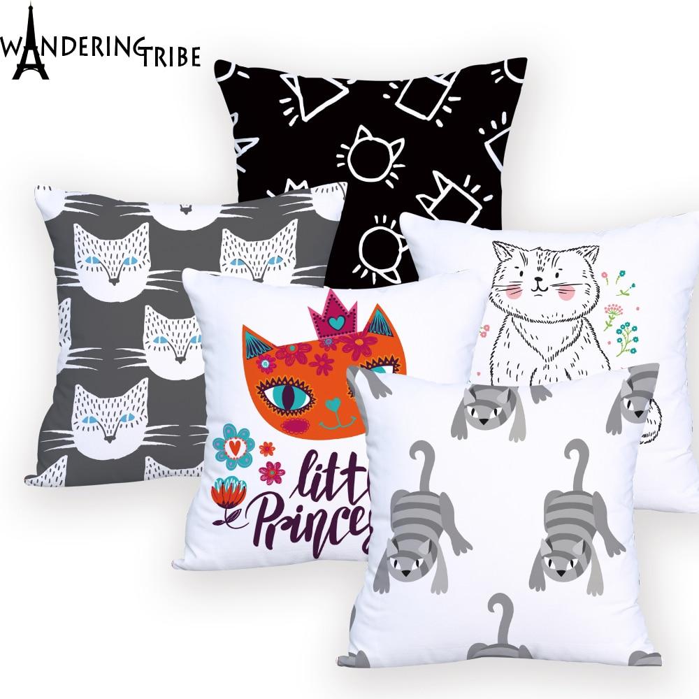 Cute Cat  Cushions Cover for Sofa Chair Decorative Custom Personalized Throw Pillows Animal  Almofadas Decorativa Designer