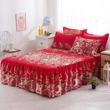 Drap housse en dentelle pour reine   Jupe de lit, taille 150x200cm, modèle Floral, couvre-lit gracieux, pour chambre à coucher et mariage