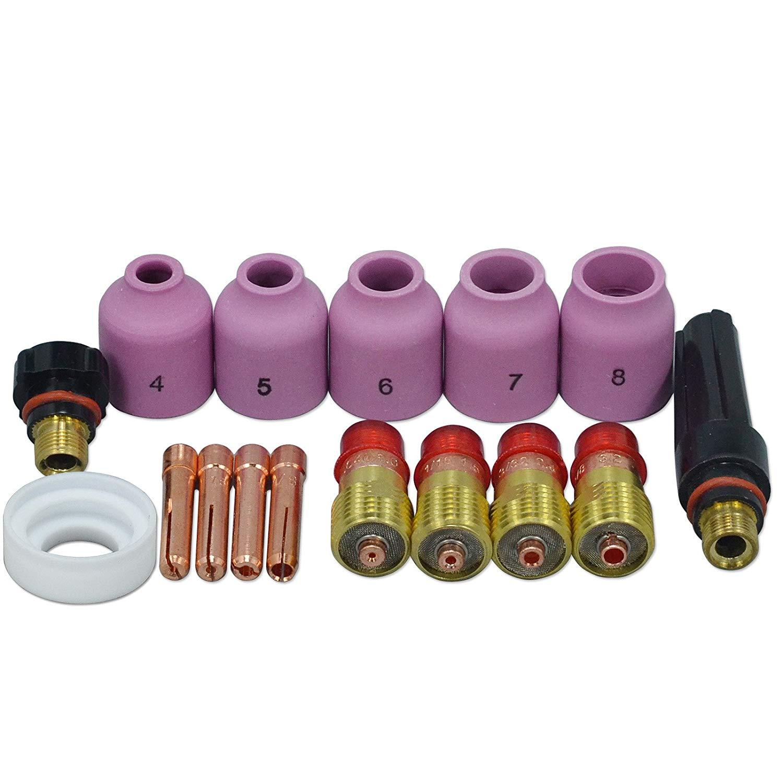 TIG Schweißen Fackeln Stubby Gas Objektiv Spannzangen Alumina Düsen Zurück Cap Kit Für SR WP 17 18 26 Serie 16 stücke