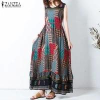 2020 zanzea summer dresses womens print beach sundress female sleeveless maxi vestido belted kaftan party robe femme