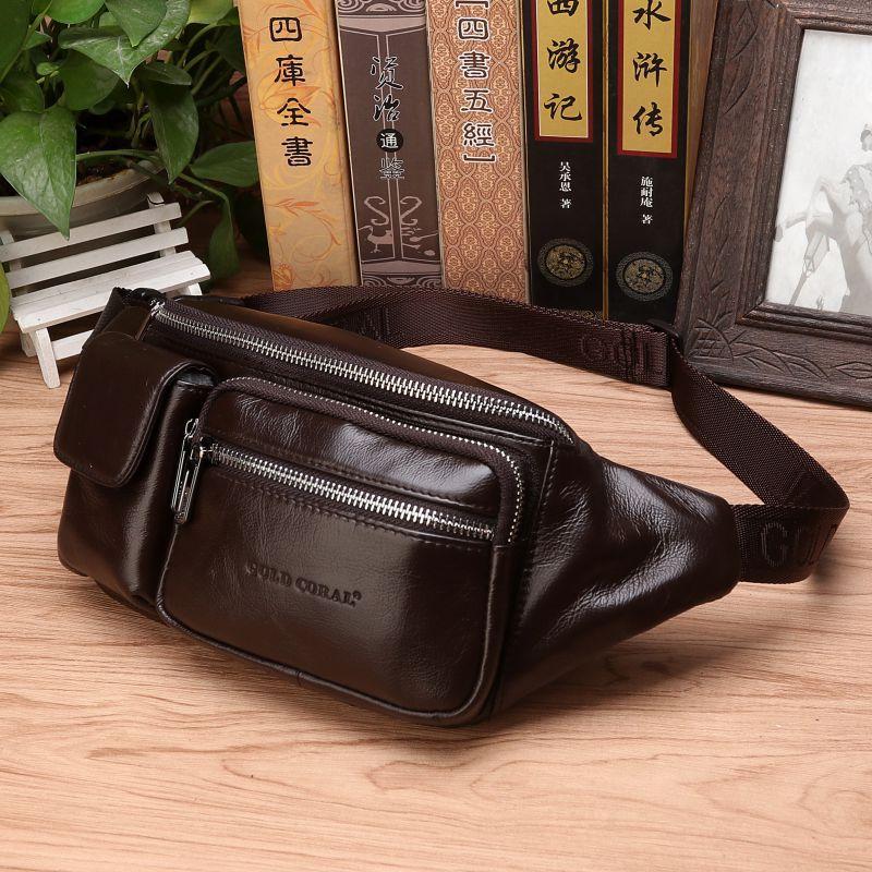 High Quality Real Cowhide Male Hip Fanny Belt Pack Messenger Shoulder Bum Bag Genuine Leather Men Waist Chest Bags