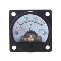 HLZS-AC 0-300V Round Analog Dial Panel Meter Voltmeter Gauge Black