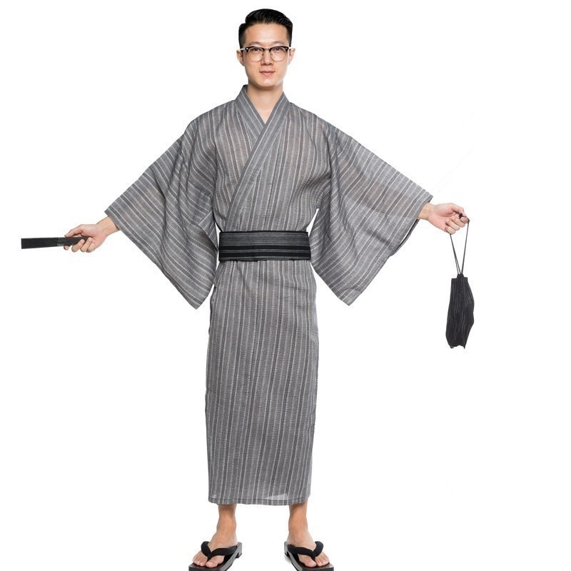 Hombres Albornoz Kimono Yukata largo transpirable pijamas verano estilo japonés hogar Albornoz de algodón A9089